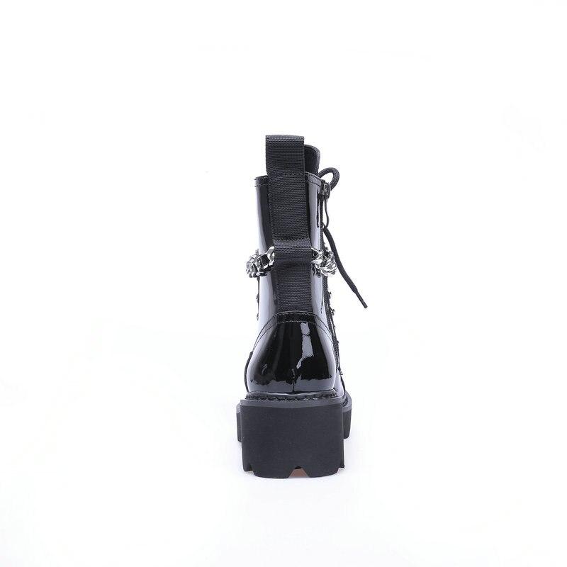 Trzewiki na śnieg kobieta 2019 nowych kobiet buty zimowe buty luksusowe czarne prawdziwa skóry klamra dekoracji marki mody w stylu w Buty do kostki od Buty na  Grupa 3