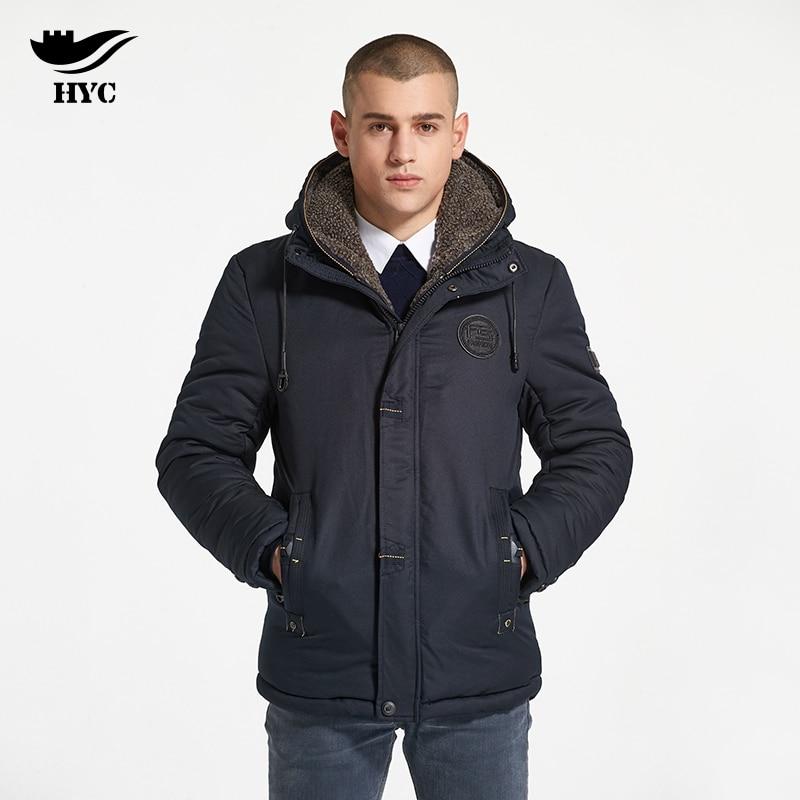 HAI YU CHENG Men's Winter Jackets Overcoat For Men Pilot Jackets and Coats Fleece Hood Parka Warm Jacket Coat Mens Windbreaker