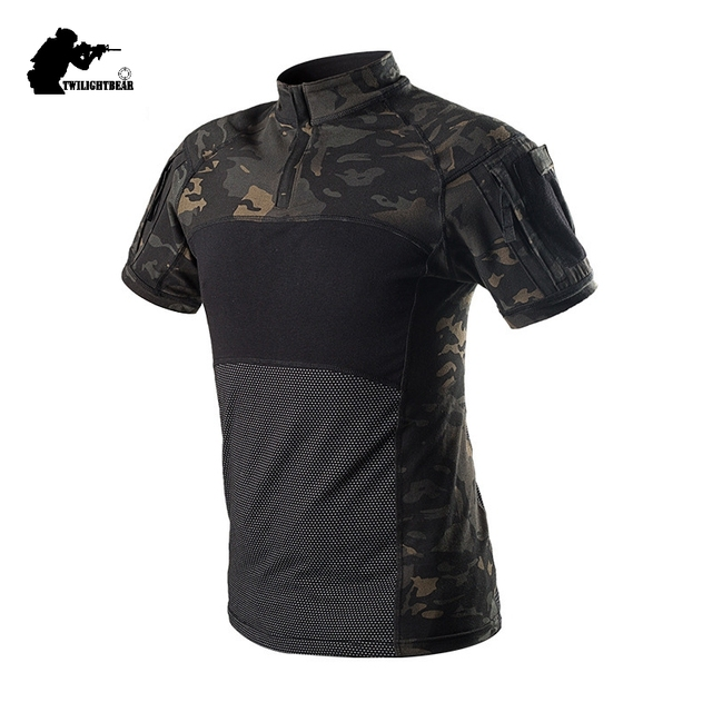 Military Mens Camouflage Tactical Suits Short Sleeve SWAT Brand Cotton Breathable Combat Frog Set Men Training Clothing BJ312