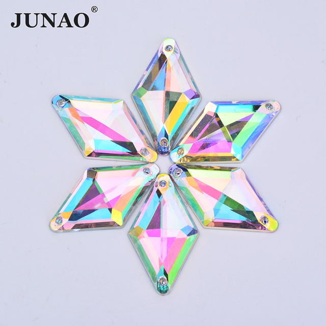 JUANO 18 30mm Sewing AB Crystals Flat Back Rhinestones Sew On Stones  Appliques Acrylic Gems Rhombus Fancy Crystal Strass for DIY 1c80342f4bf7