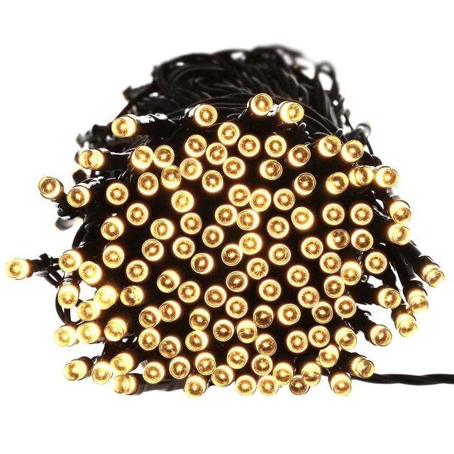 Ledertek Luces De Navidad 72 pies 200 LED Cuerda de  Luces Solar Para la Casa, Interior/Aire Libre, Patio, Jardín, Fiesta, Boda (Blanco calido)