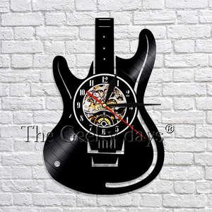 Гитарные декоративные художественные часы Виниловые LP записывающие часы музыкальный инструмент 3D настенные часы ручной работы художестве...