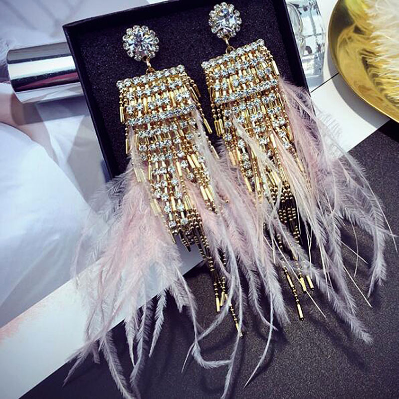 925 Silver Needle Feather Long Tassel Earrings For Women Fashion Boho Rhinestone Drop Earrings Jewelry Wholesale Female Gift pair of stylish rhinestone embossed leaf tassel earrings for women