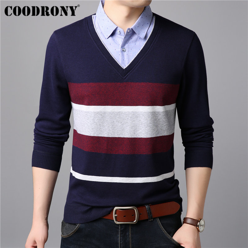 COODRONY Mens Sweaters Knitwear Twinset Pull Homme Cashmere Cotton Sweater Men Casual Turn-down Collar Woolen Pullover Men 91006