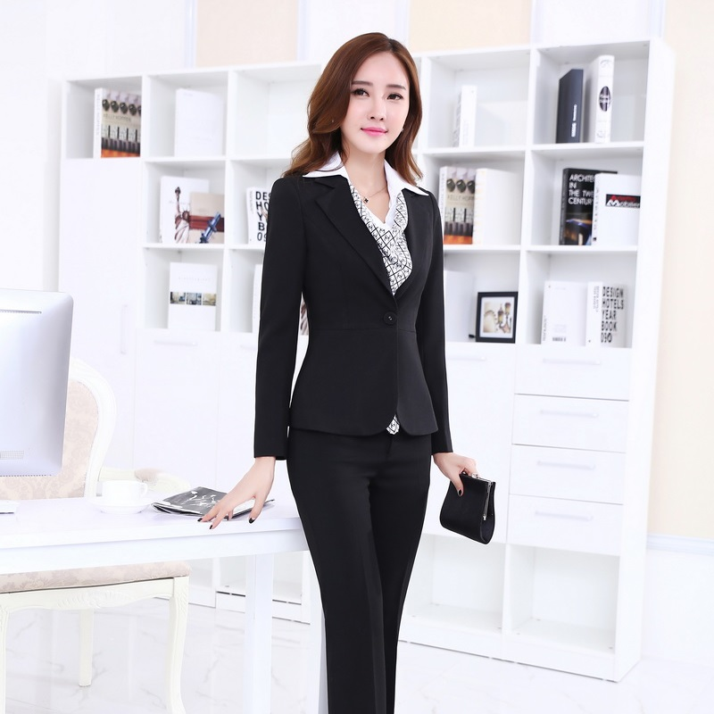 Aliexpress.com  Buy Ladies Pant Suits For Women Business Suits Formal Office Suits Work Black ...