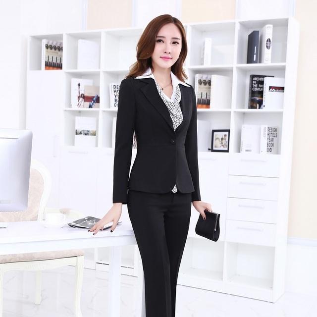 Senhoras Calça Ternos para Mulheres de Negócio Ternos Escritório Formal Ternos Trabalho Roupas Conjunto Preto de Negócios Profissional Estilos OL Terninhos
