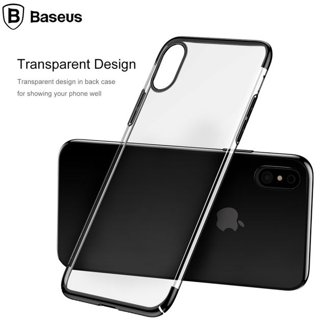 new concept 511e6 91fcf US $8.89 |BASEUS for Apple iPhone X Hard Cases for iphone 10 Phone Cover  Glitter Series Plating PC Hard Case for iPhone X 5.8 inch Black-in Fitted  ...