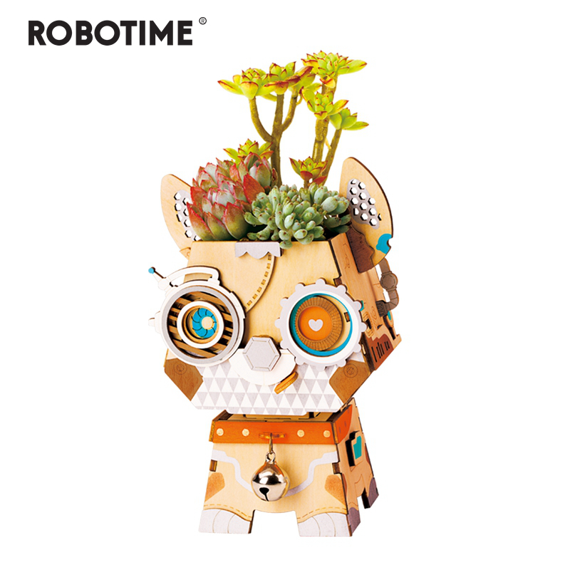 Robotime Children Adult Cute Puppy Flower Pot 3D Wooden Puzzle Game Educational Models & Building Kits Toy Hobbies FT742