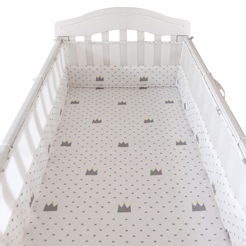 Nordic Style Crib Bumpers Cotton&Mesh Baby Bed Bumpers Clouds/Crown Pattern Newborns Cot Bedding Protectors 180*30cm One Piece