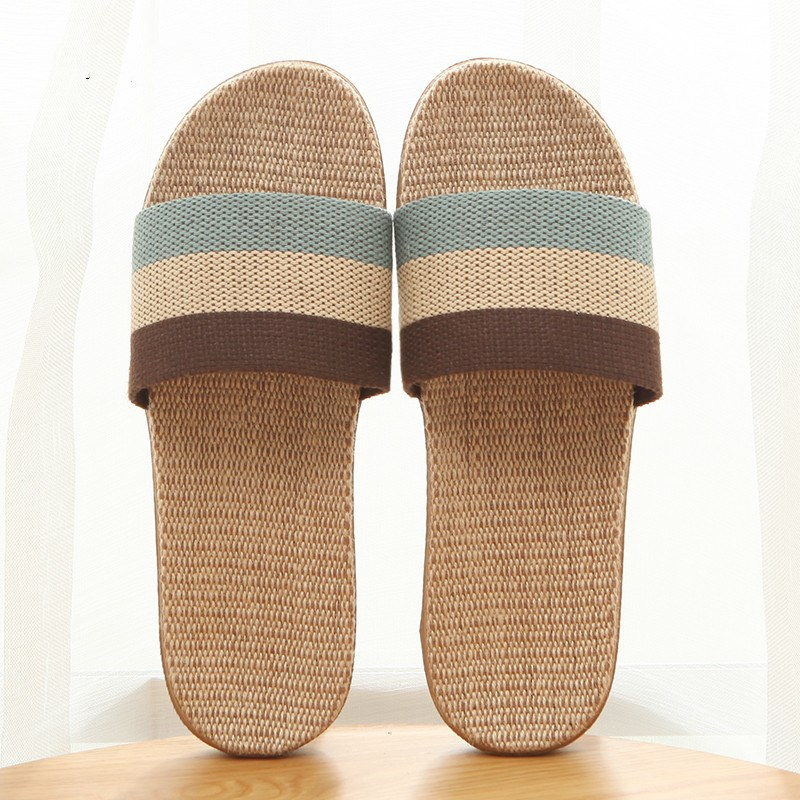 Summer home slippers Flax Indoor Floor Shoes Cross Belt Silent Sweat Slippers For Summer Women Sandals Slip On Slippers Couple summer couple slippers 2016 new tide male cork slippers couple slippers beach sandals women sandals page 6