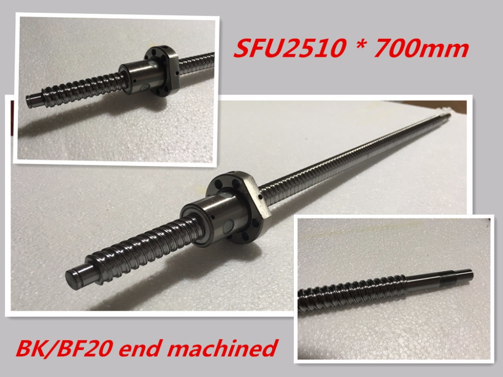 1pc 25mm Ball Screw Rolled C7 ballscrew SFU2510 700mm BK20 BF20 end processing 1pc SFU2510 Ballscrew