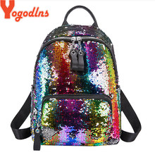 Yogodlns Backpacks Women Fashion Glitter Sequins laptop backpack Large Capacity Solid Color Travel Bag women male Schoolbag Pac(China)