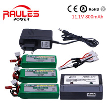 3 pcs 001336 Polymer Rechargeable Battery 11.1V 800mAh 20C Lipo and charger cable 3in1 for HM RC Car Airplane Toy Helicopter