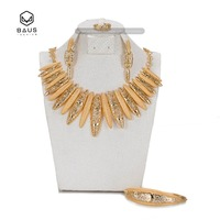 2017BAUS Vintage Imitated Crystal African Beads Pendant Earrings Bracelets Wedding Dubai Gold Plated Jewelry Sets For