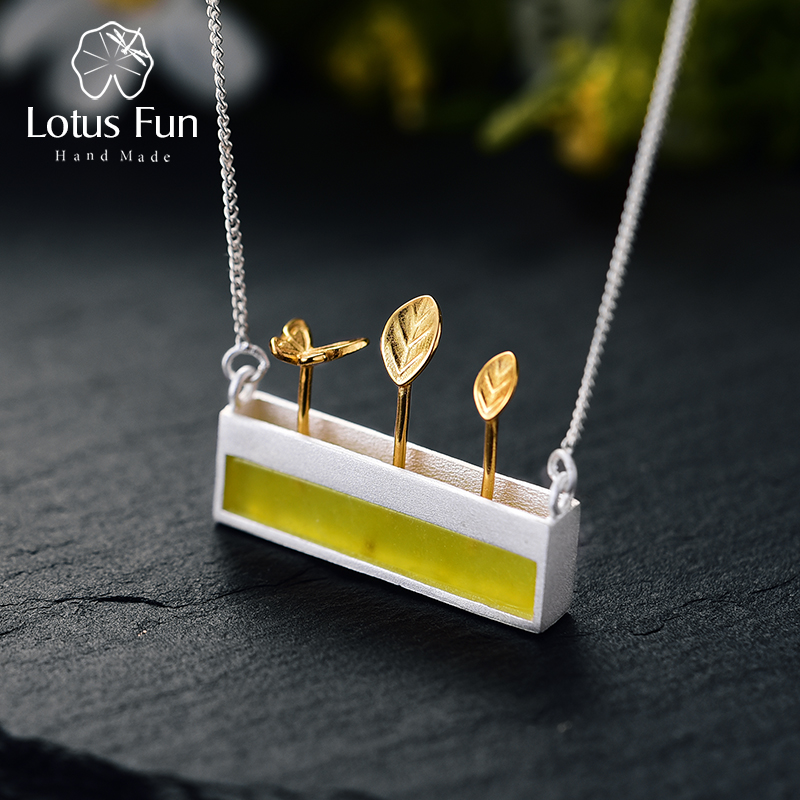 Lotus Fun Real 925 Sterling Silver Natural Stone Handmade Designer Fine Jewelry Minimalism Necklace with Pendant for Women