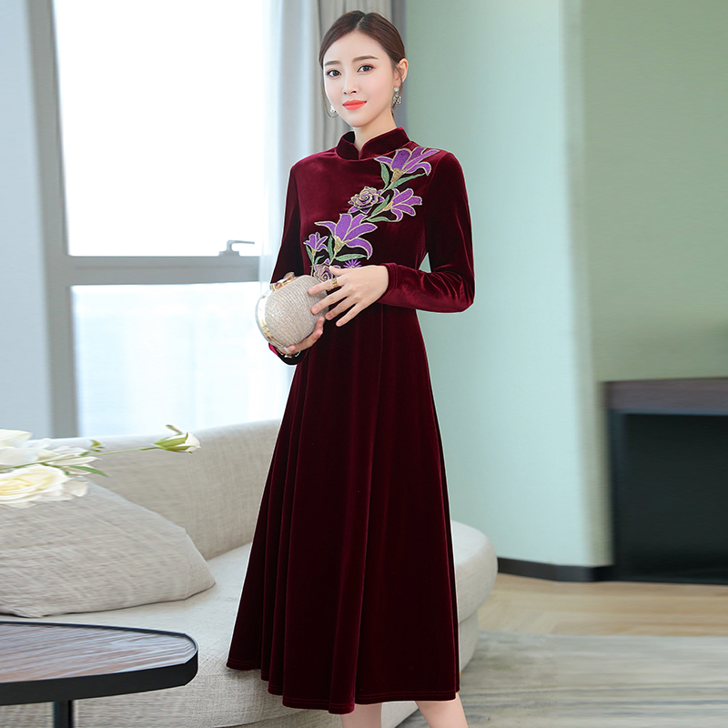 871e9b91afb1b Black Velvet dress women plus size long sleeve vintage Chinese win...