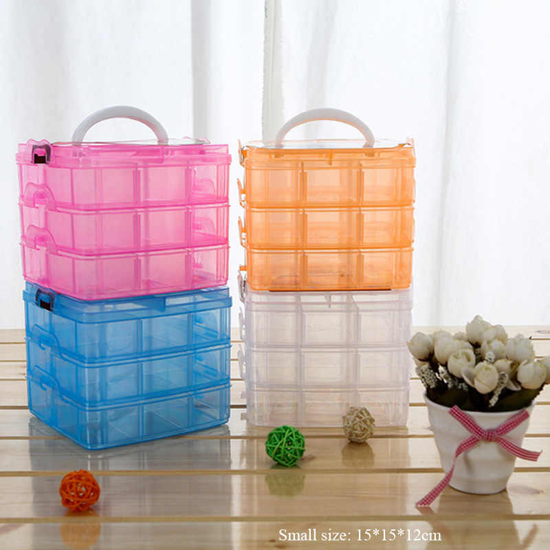 18 Slots 3 tiers Plastic makeup organizer jewelry storage box toys organizer Removable storage case Transparent suitcase