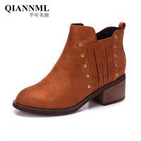QianNML New 2018 Fashion Brown Black Chelsea Boots Quality Flock Women Boots Warm Snow Winter Boot