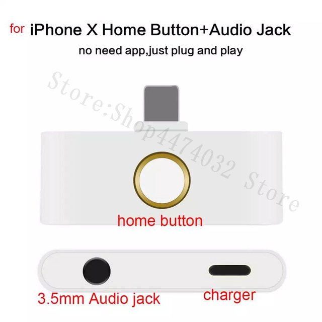 new styles f14ab bba18 US $11.57 |Aliexpress.com : Buy For iPhone X 10 8 8Plus 7 7Plus 3 in 1  Phone Accessory Adapter External Home Button With Charging Plug+3.5mm Audio  ...