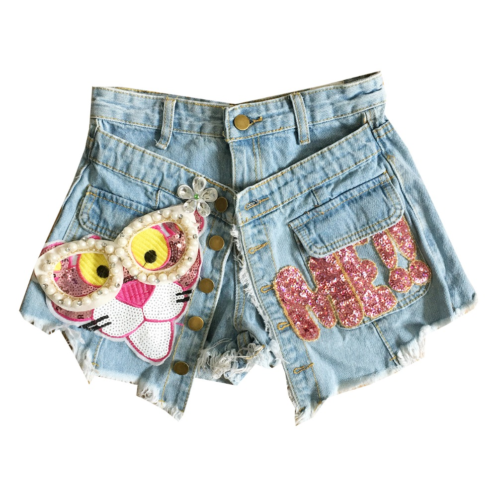 Women Fringe High Waisted Wash Blue Denim Shorts Skirts Ladies Sweet Beading Leopard Sequined Pink Letter Button Jeans Shorts