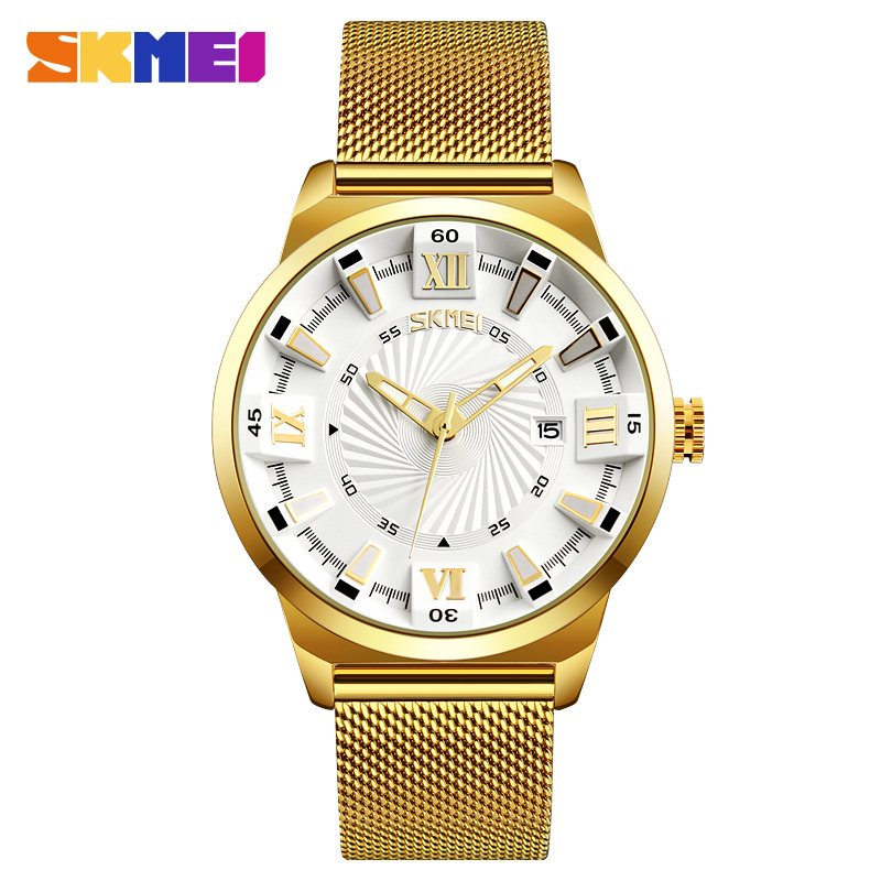 SKMEI Fashion Quartz Watches Men Luxury Business Gold Watch Stainless Steel Waterproof Wristwatches Male Clock Relogio Masculino skmei men s sport watches fashion chronograph quartz watch luxury stainless steel waterproof men wristwatches relogio masculino