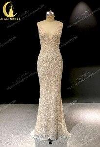 Image 2 - Rhein echt Bilder Tiefem V ausschnitt Sexy Voller Perlen Kristall Meerjungfrau Champagne Formale kleid prom kleider arabisch abendkleider lange