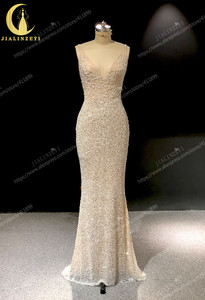 Image 2 - Rhine real Pictures Deep V Neck Sexy Full Beads Crystal Mermaid Champagne Formal dress prom dresses arabic evening dresses long