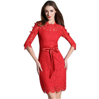 2016 New Fashion Runway Autumn Sexy Party Dresses Women Half Sleeve Stand Neck Red Lace Dress