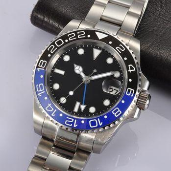 40mm cristal de zafiro automático 24 horas dial reloj mecánico para hombres GMT fecha hebilla de despliegue