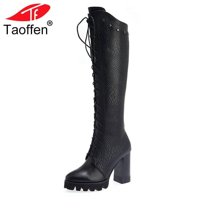 842fd500ec Piel Caliente Rodilla Largas Botas 34 Plataforma 40 Invierno Mujer Negro  Hasta Genuino Taoffen Encaje Calzado Tamaño Zapatos Cuero Tacones Real De  Ow7xn65pq