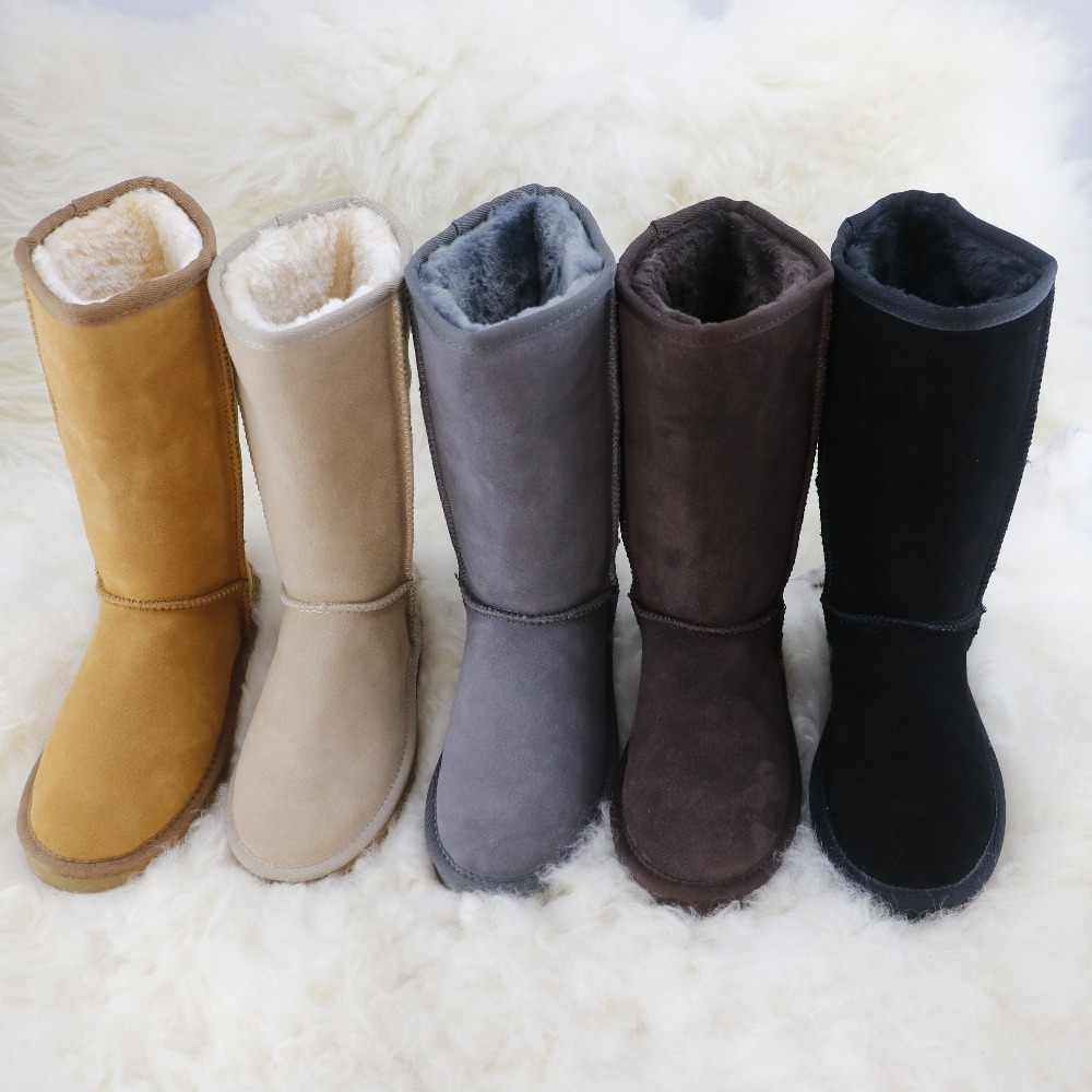 Free Shipping New Arrival 100% Real Fur Classic Genuine Cow Leather warm Snow Boots Winter Shoes for Women