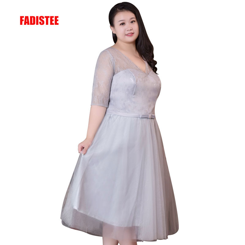 US $45.91 8% OFF FADISTEE New arrival elegant prom party dress evening  dresses plus size gown lace V neck half sleeves simple satin short-in  Evening ...