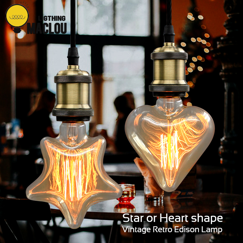 Vintage decorative light bulb e27 220v 40W star&heart incandescent bulb retro edison flame bulb christmas indoor for home decor