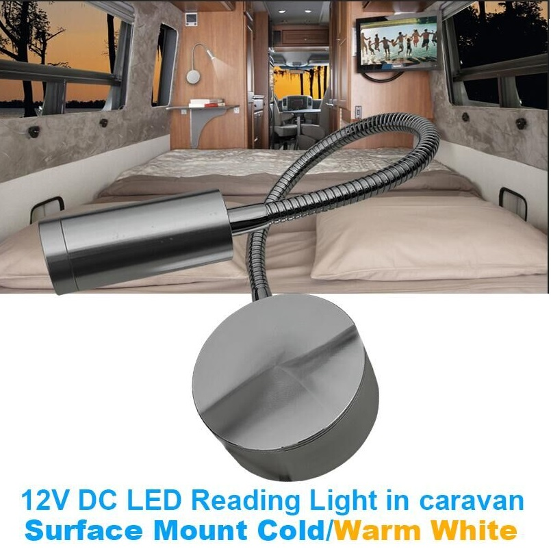 12V DC LED Reading Light Flexible Talk Interior light Caravan Camper Trailer/RV/Bedide Wall Lamp Cold Warm White : 91lifestyle