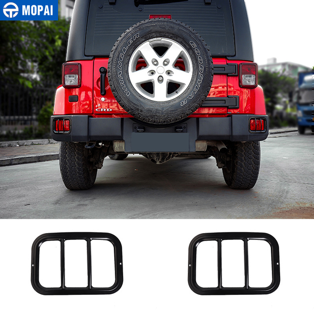 MOPAI Metal Car Exterior Rear Tail Fog Lamp Light Cover Protect Accessories For Jeep Wrangler 2007-2018 Up Car Styling