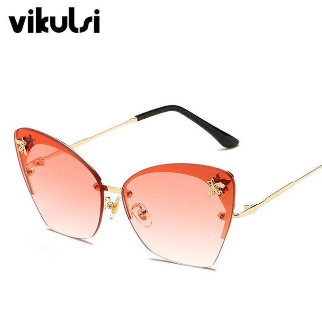 c8bf7c3f9b Best Offers Red Cat Eye Sunglasses Vintage Brand Designer Women s Rimless  Sunglasses Men Retro Metal Bee