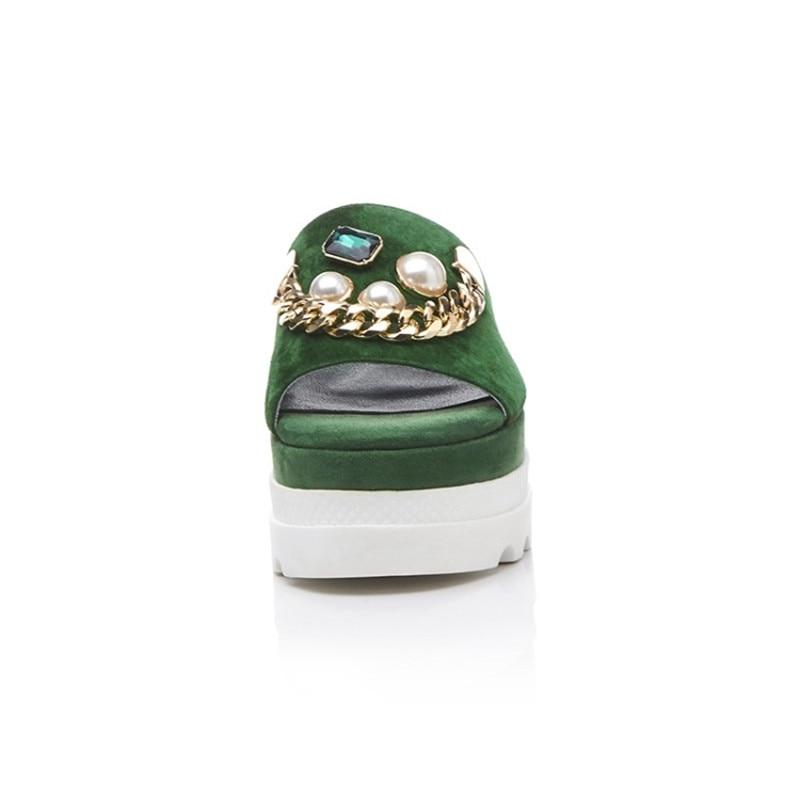 Épais En Marque black Green Avec Perle forme Métal Fond Suede Solide D'été Stylesowner Kid Pantoufles Plate Vert Couleur D'origine Chaîne CzqwwSX