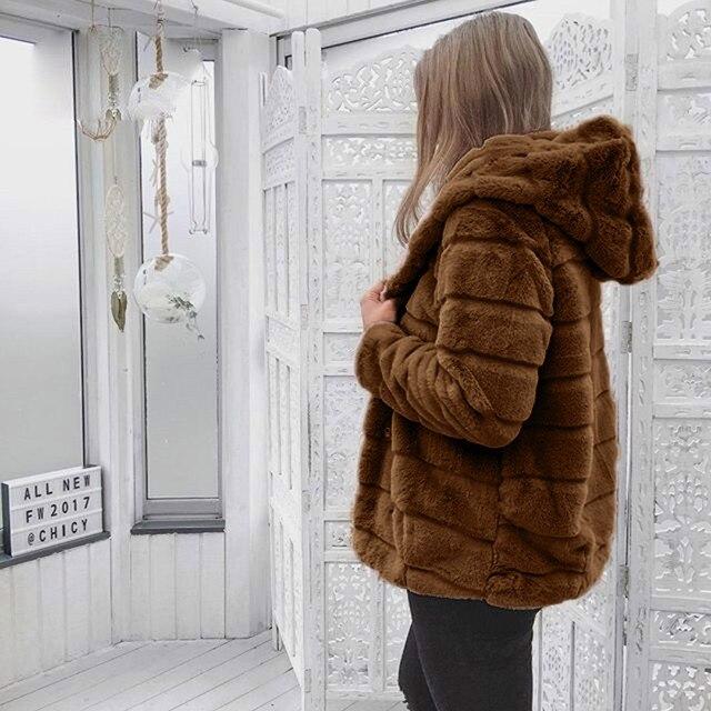 Women Faux Fur Jacket Winter Warm Coats 2018 Women Mink Coats Winter Hooded New Jacket Warm Thick Outerwear Jacket 3