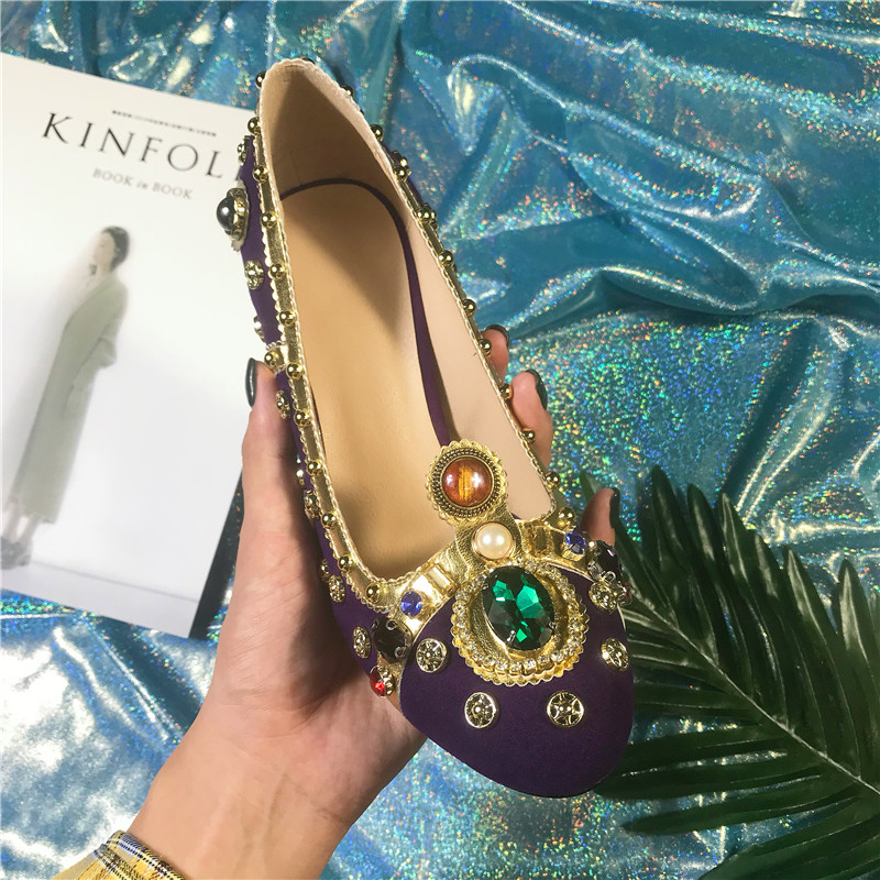 Purple Women Pumps Rivets Studded kid suede Chunky High Heels crystal Shoes  pearled Jewellery Wedding Shoes for ladies -in Women s Pumps from Shoes on  ... eca14162c4c7