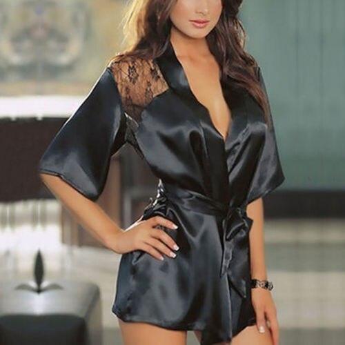 2019 Women Sexy Lingerie Lace Backless Robe Dress Babydoll Nightdress Nightgown Sleepwear Night Wear Hot