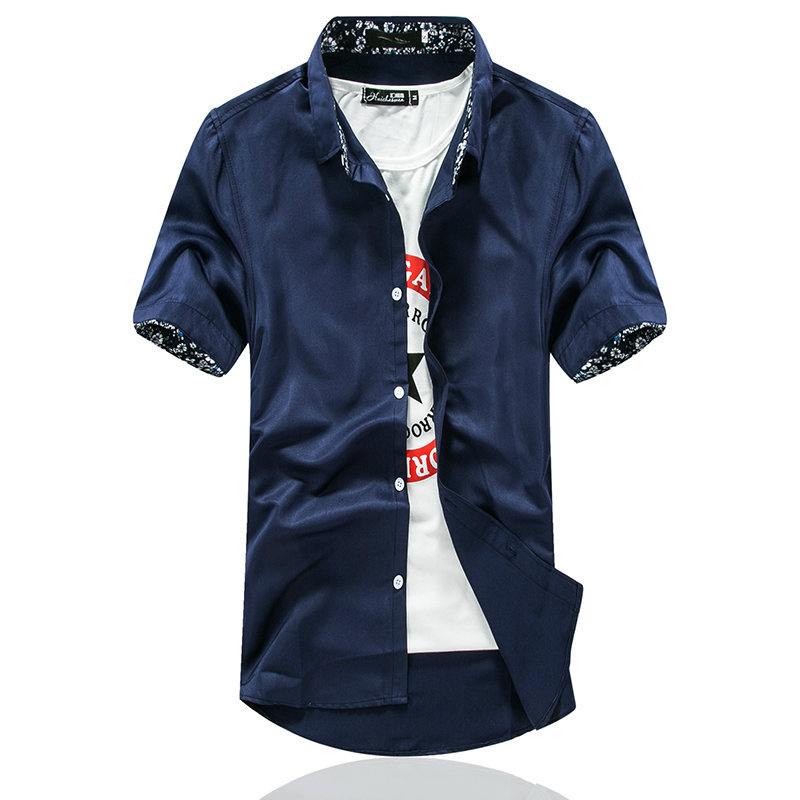 Summer Men's Short Sleeve Shirt Korean Slim Youth Solid Color Fashion White Shirt Student Short Sleeve