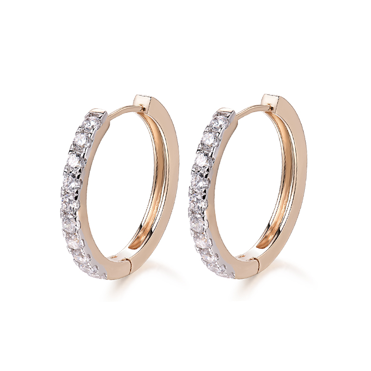 New 2017 Gold-Color Hoop Earrings For Women  boucle d'oreille Crystal Zircon Earring Fashion Free shipping10E18k-11