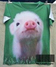Track Ship+Summer Fresh Cool T-shirt Top Tee Pink Pure Eyes Pig Piglet Piggy Smile Watching at Green Grass 0283
