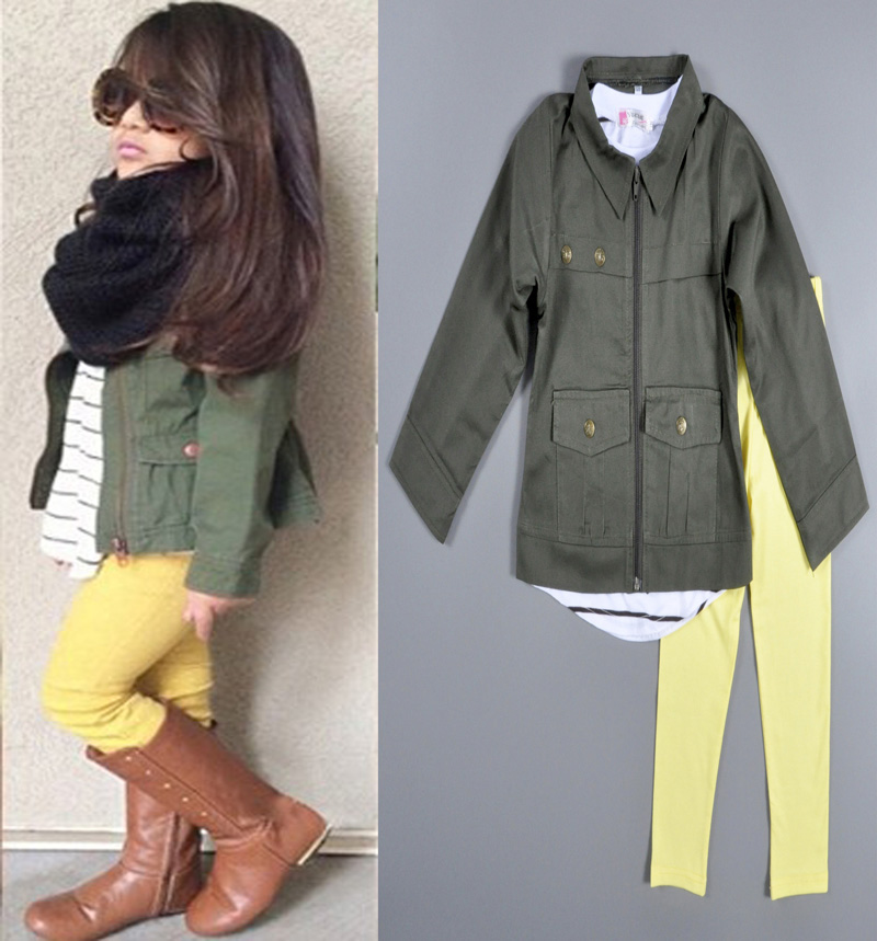 2015 new arrival baby girl set hot sale Olive Green jacket   ...