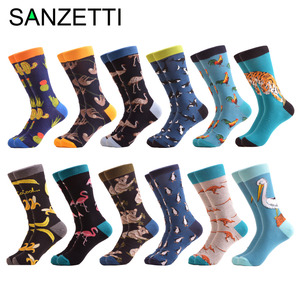 Image 1 - SANZETTI 12 pairs/lot Wholesale Funny Mens Combed Cotton Colorful Socks Ostrich Shark Pattern Novelty Causal Dress Wedding Sock