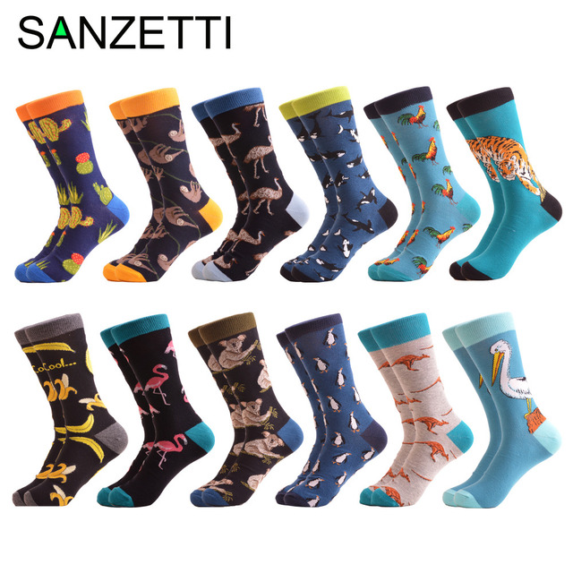 SANZETTI 12 pairs/lot Wholesale Funny Mens Combed Cotton Colorful Socks Ostrich Shark Pattern Novelty Causal Dress Wedding Sock