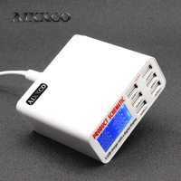 AIXXCO 6A with LCD Digital Display 6 Port USB Charger Fast Smart Charging Station for Smart Phone Tablet PC