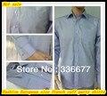 Европейский размер мужские длинный рукав контрастность цвет лёгкие фиолетовый французский манжеты офис рубашка QR-2383
