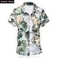 Camisa dos homens verão moda elasticidade lazer camisa de manga curta tamanho grande masculino imprimiram a camisa 5xl 6xl 7xl marca clothing