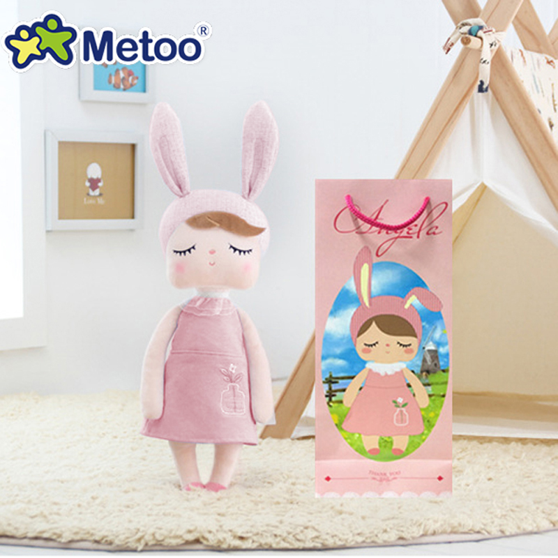 Boxed Accompany Sleep Retro Angela Rabbit Plush Stuffed Animal Kids Toys for Girls Children Birthday Christmas Gift Metoo Doll rabbit plush keychain cute simulation rabbit animal fur doll plush toy kids birthday gift doll keychain bag decorations stuffed